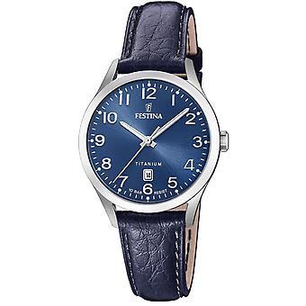 Uhr Festina F20469-2 - TITANIUM Dateur Bo Tier Stahl Silber Leder Armband blau Blackout blau Frauen