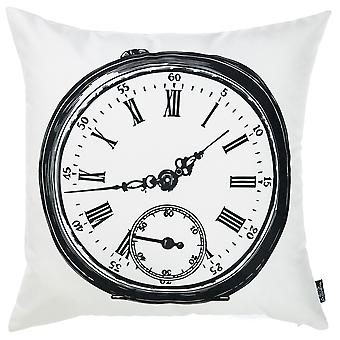 Black and White Vintage Clock Decorative Throw Pillow Cover