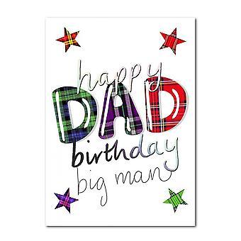 Geborduurde originelen gelukkige verjaardag papa Schotse kaart