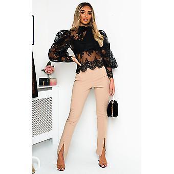 IKRUSH Womens Malisha geborduurde kant blouse