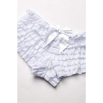 Daisy Corsets Women's Mesh Ruffle Shorts with Bow, White, Medium