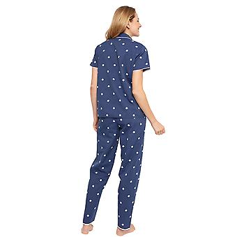 Cyberjammies 1359 Women's Nora Rose Ellen Navy Blue Striped Cotton Embroidered Woven Pyjama Set