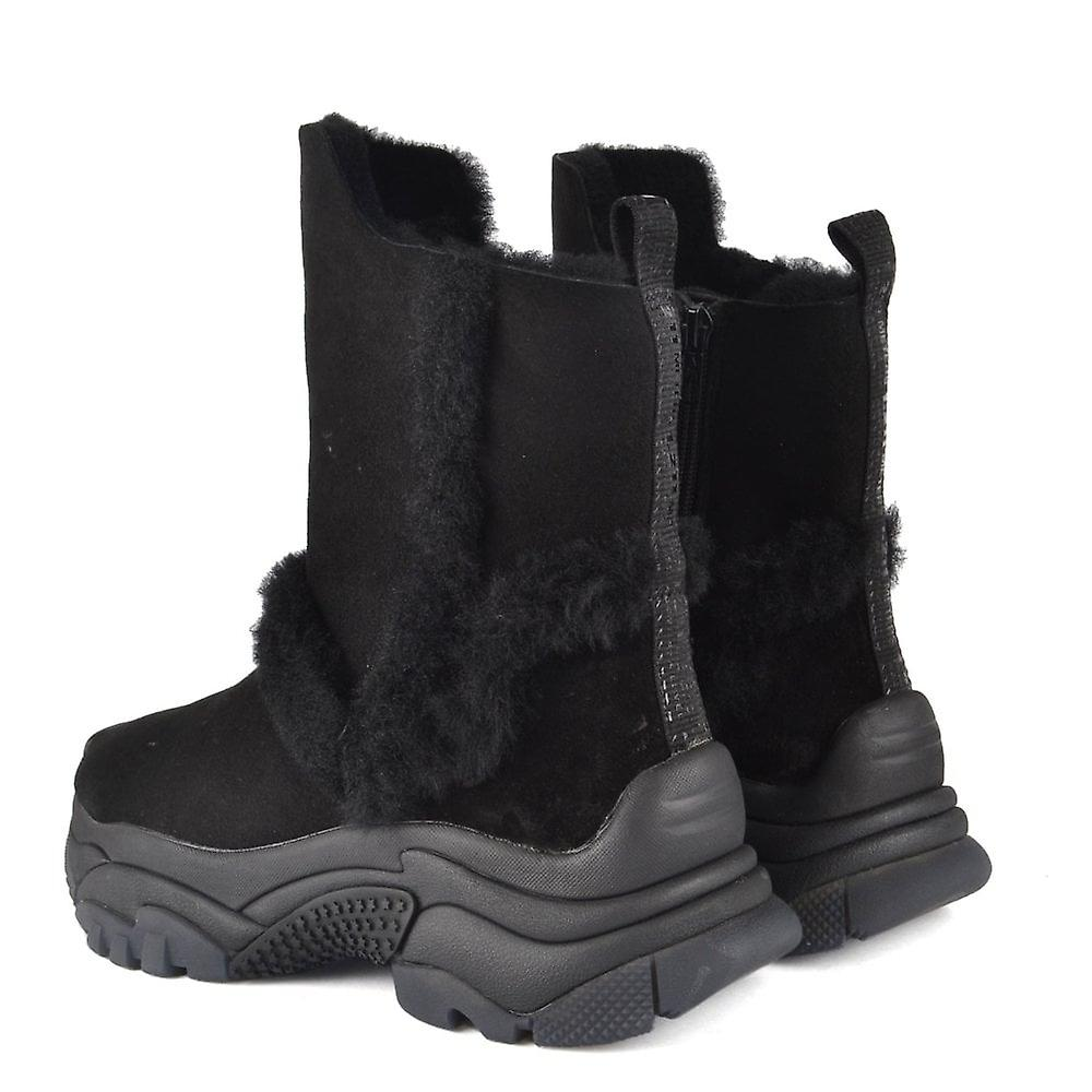 Ash Alpes Shearling Trainer Boots Black Suede