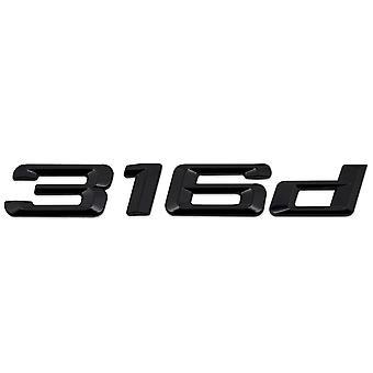Gloss Black BMW 316d Car Badge Emblem Model Numbers Letters For 3 Series E36 E46 E90 E91 E92 E93 F30 F31 F34 G20