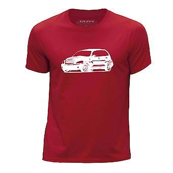 STUFF4 Boy's Round Neck T-Shirt/Stencil Car Art / PT Cruiser/Red