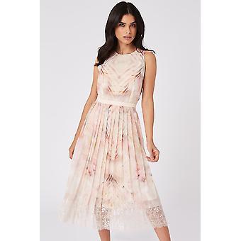 Print Pleated Lace Trim Dress