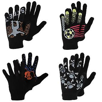 Boys Black Winter Magic Gloves With Rubber Print