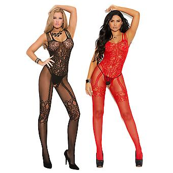 Womens Bodystocking Set- Sexy Shredded Strap Fishnet and Lace Open Crotch Bodysuit Lingerie Pack of 2