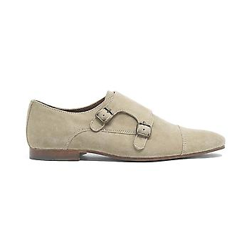 Walk london luca monk strap shoes in stone suede