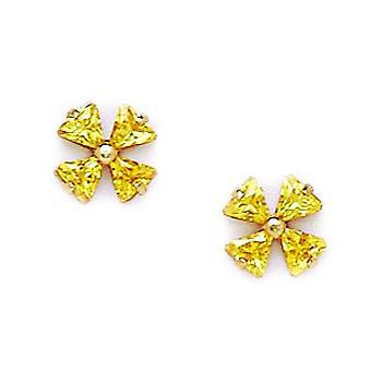 14k Geel Goud november Gele CZ 4 Petal Flower Screw terug Oorbellen maatregelen 7x7mm sieraden geschenken voor vrouwen