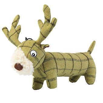 House Of Paws Plush Tweed Stag Long Body Dog Toy