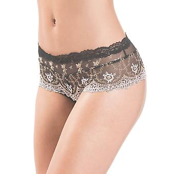 Aubade HC70-ORNR Women's Belle d'Ispahan Black Embroidered Knicker Shorties Boyshort