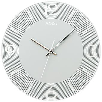 AMS 9571 wall clock quartz analog gray round with glass silent no tick