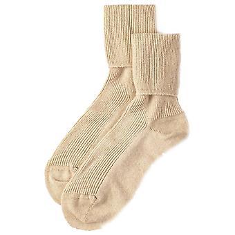 Johnstons of Elgin Ribbed Cashmere Ankle Socks - Natural Beige