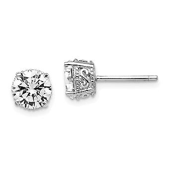 925 Sterling Silver Post Earrings Rhodium plated 6.5mm CZ Cubic Zirconia Simulated Diamond Stud Earrings Jewelry Gifts f