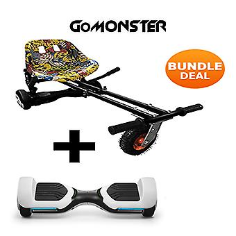 "6.5"" G PRO White Bluetooth Hoverboard with Go Monster Hoverkart in Hip Hop"