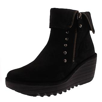 Womens Fly London Yemi Cupido cuir travail hiver Wedge talon cheville bottes