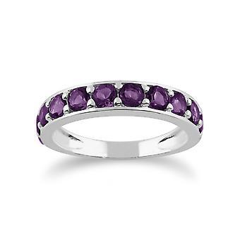 Klassische Runde Amethyst halbe Ewigkeit Ring in 925 Sterling Silber 212R010603925