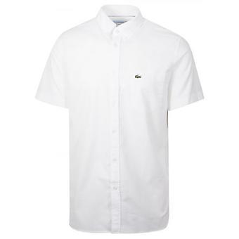لاكوست العادية تناسب قصيرة الأكمام قميص أبيض أبيض