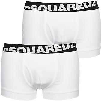 DSquared2 2-pakning vinklet logo lave boxer trunker, hvit