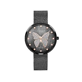 Strand By Obaku S700LXBBMB-DB Butterfly-Charcoal Black Mesh Wristwatch