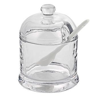 """6"""" Mund geblasen Kristall Marmelade oder Honig Glas mit Keramik Löffel"""