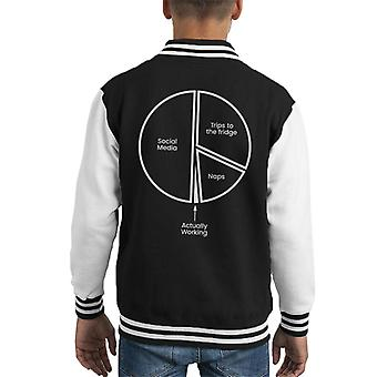 Working From Home Pie Chart Kid's Varsity Jacket