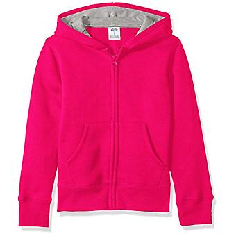 Essentials   Girls' Fleece Zip-up Hoodie, Raspberry Sorbet 3T
