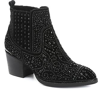 Carmela Womens Embellished Suede Chelsea Boot