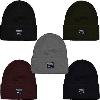 Wrangler Mens Basic Knitted Fine Knit Winter Warm Casual Beanie Hat - OS