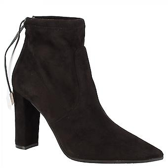 Leonardo Shoes Women's handmade pointed toe high heels ankle boots in black suede leather with back laces