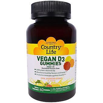 Country Life, Vegan D3 Gummies, Lemon, Strawberry & Orange Flavors, 1000 UI, 60