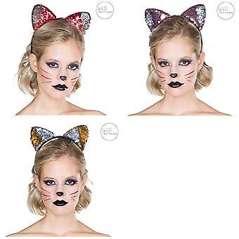 Katter hårband reversibel paljetter katt öron