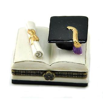 Выпускной диплом и выпускник шляпу на открытой книге навесные фарфора Брелок Box
