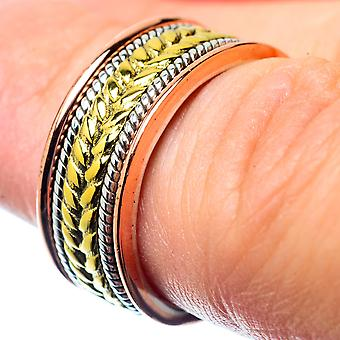 Meditation Spinner Ring Size 4.75 (925 Sterling Silver)  - Handmade Boho Vintage Jewelry RING26787