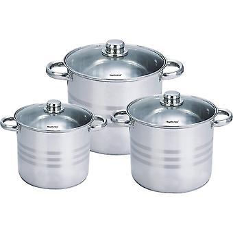 Set van drie roestvrijstalen potten