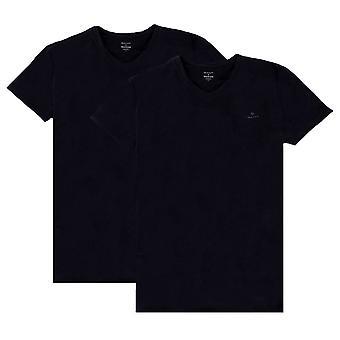 Gant 2 Pack V Neck T-Shirt - Black/Black