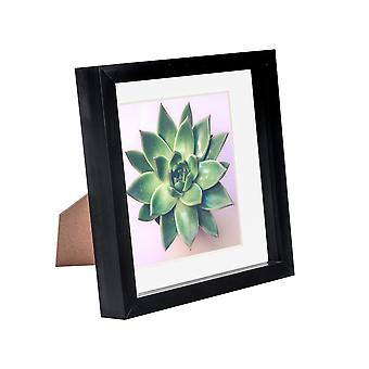 Nicola Spring 8 x 8 3D Shadow Box Photo Frame - Craft Display Picture Frame - Glass Aperture - Black