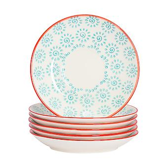 Nicola Spring Patterned Porcelain Saucers For Cappuccino Cups, 14cm - Turquoise Print - Set of 6