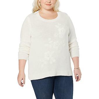 Stil og co | Plus Size Tonal Flower-Broderet Sweater