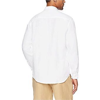 28 Palms Men's Relaxed-Fit Long-Sleeve 100% Linen Shirt, Grey, XX-Large