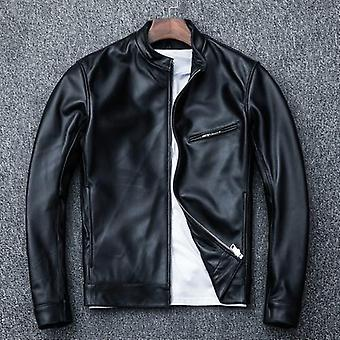 Colderon men's genuine leather jacket vintage sheepskin