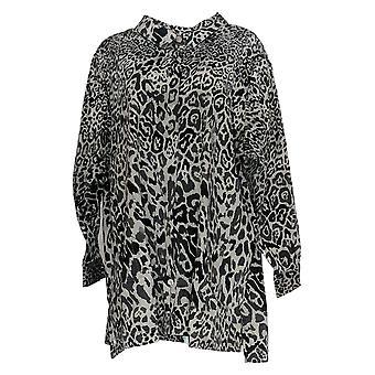 Isaac Mizrahi Live! Frauen's Plus Top Leopard Print Button Up grau A384112