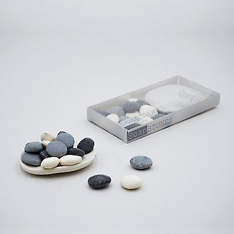 Small Pebble Shape Soaps With Porcelain Dish Set
