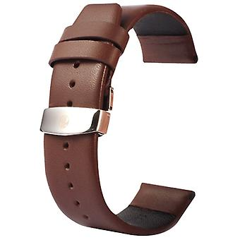 Kakapi for Apple Watch 42mm Subtle Texture Double Buckle Genuine Leather Watchband, Only Used in Conjunction with Connectors (S-AW-3293)(Coffee)
