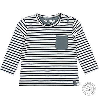 Dirkje Boys Pruhované tričko + náprsní kapsa zaprášená zelená