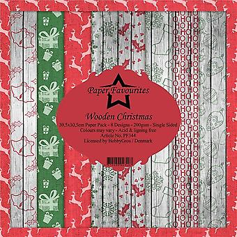 Paper Favourites Wooden Christmas 12x12 Inch Paper Pack
