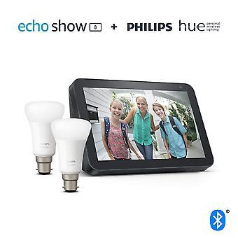 Echo zeigen 8, Kohle Stoff + Philips Farbton weiß Smart Glühbirne Twin Pack LED (b22) | Bluetooth & Zickbee
