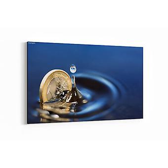 Schilderij - Euro muntstuk dat in water plonst — 100x70cm