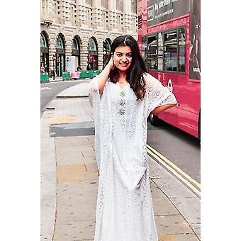 Kaftan dentella przycięty rękaw warstwowy koronkowy midi sukienka gandoura w kolorze białym